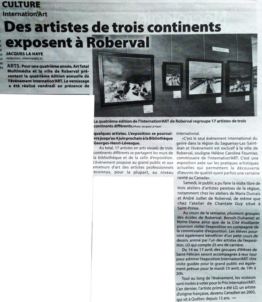 Un article sur Linternation'art à Roberval